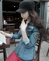 2013 autumn handsome medal badge zipper slim denim coat outerwear female