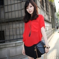 2013 summer sexy perspectivity t-shirt shirt batwing sleeve chiffon shirt top fashion all-match loose