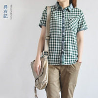 Summer 2013 100% turn-down collar cotton shirt british style double layer of cotton yarn short-sleeve plaid shirt women's