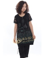 Plus size clothing plus size mm loose short-sleeve knitted T-shirt 33118
