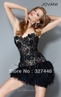 2013 Short Black White Cocktail Dresses Gowns New Sexy Appliqued Lace Ostrich Feathers Pageant Birthday Special Occasion Dresses