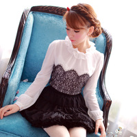 Princess 2013 autumn sweet ruffle stand collar lace patchwork chiffon shirt top long-sleeve slim