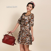 Elegant one-piece dress loose waist slim half sleeve chiffon skirt female 26278
