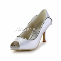 Aineny99 Classics White Rhinestone BowPeepToe Spike Heel Cover Hee Women' Pumps Satin Wedding Bridal Evening Party Shoes   L418