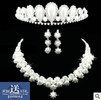 The wedding jewelry set bride accessories set necklace chain sets pearl rhinestone piece set marriage accessories