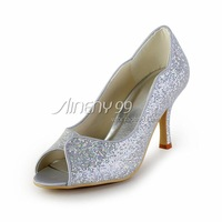 Aineny99 Shiny Silver Bow Peep Toe Stiletto Heel Glitter PU Pump Evening Party Women Dress Shoes  Custom Made Ladies' ShoesL420