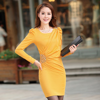 2013 spring and autumn female romantic declaration of X . YING knitted long-sleeve slim gentlewomen elegant one-piece dress