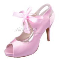 Aineny99  New Design Pink Colour Bow Peep Toe Lace Up  Inside Platform High Heels Satin Wedding Bridal Evening Party L048P