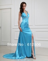 Top-grade Sexy Halter Prom Dresses Sky Blue Slit Side Sweep Train Sheath Party Gowns Beads Crystal