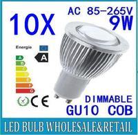 10X Free shipping 85-265V dimmable 9W GU10 COB LED lamp light led Spotlight White/Warm white led lighting