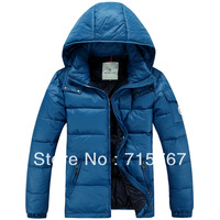 Free shipping 2013 Autumn and winter male short design thin cotton-padded jacket down male solid color outerwear