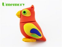 Retail genuine capacity 2g 4g 8g 16g 32g cartoon scarlet macaw parrot usb flash drive pen drive memory stick Drop Free shipping