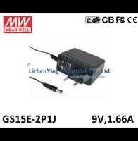 MeanWell 15W 9V 1.66A Single Output Wall mounted type Green Adaptors GS15E-2P1J 2 pole European plug Adapters TUV CB CE FCC