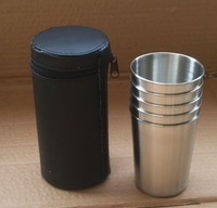 New Arrival Big Drinking Cup Set 5 Cups & 1 Bag 340ml Water Cups Travel Outdoor Stainless Steel Cups Drop Shipping