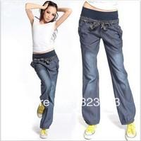 The new pants wide-legged pants elastic waist female trousers jeans