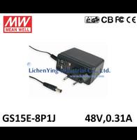 MeanWell 15W 48V 0.31A Single Output Wall mounted type Green Adaptors GS15E-8P1J 2 pole European plug Adapters TUV CB CE FCC