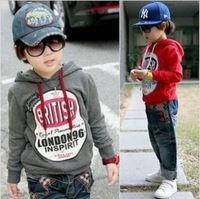 Retail Free shipping Children British London pattern boys girls kids sweatershirts hoodies 2014 KT020R