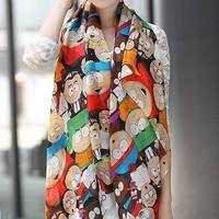 Free shipping CHEAPEST novel cartoon figure fashion South Park silk scarf woman 's cape velvet chiffon scarf SC0262