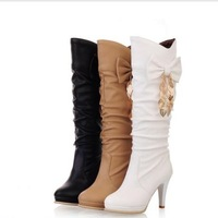 2013 new fashion boots for women Women's shoes high-heeled shoes bow medium-leg boots pu leather boots free shipping
