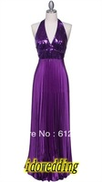 Newest Fashion Purple Prom Dresses Pleated Halter V-Neck Backless Sequins Sheath Lay Formal Gowns