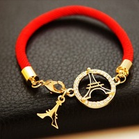 New Arrival Fashion 2014 Charms Bracelet 18k Gold Plated Ethnic Wind Eiffel Tower Red Rope Round Shape Bracelet Wholesale Retail