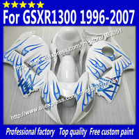 Hayabusa Custom for 1996-2007 SUZUKI GSXR 1300 fairing GSXR 1300 fairings 96-07 blue flame in glossy white with 7 gifts si35
