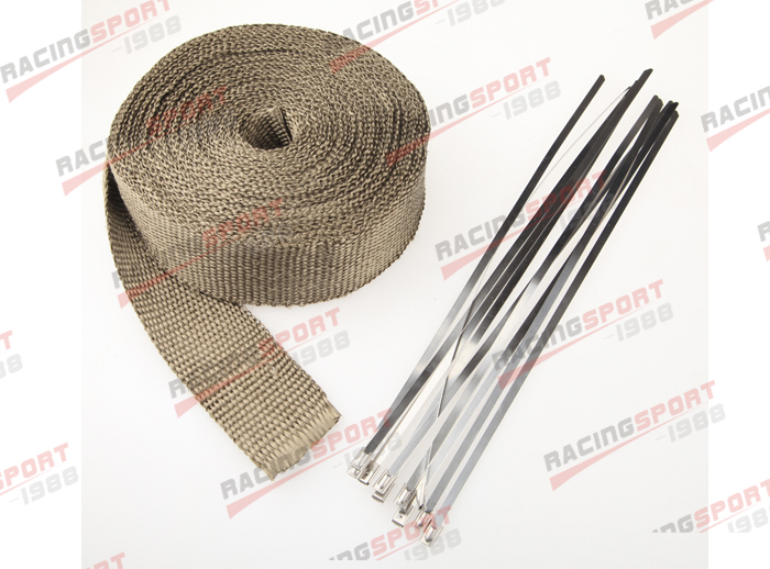 "2""x 32' Premium Exhaust Heat Wrap Manifold Wrap Titanium Lava Fiber 10pcs Ties(China (Mainland))"