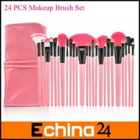 Fashion Pink Brush Hand Professional 24Pcs Makeup Brush Set Make-up Toiletry Kit Brand Make Up Set Free Shipping