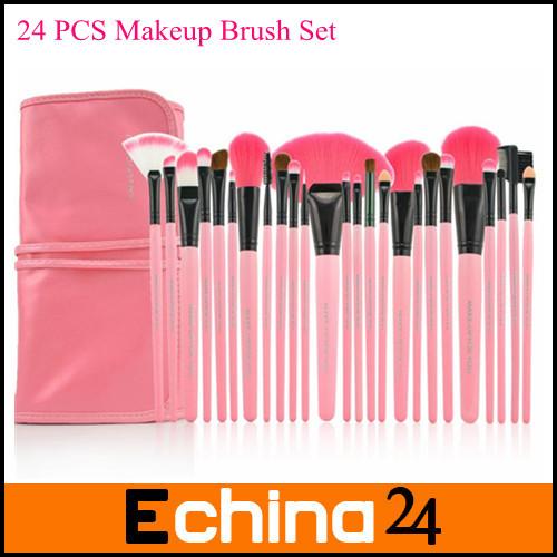 Fashion Pink Brush Hand Professional 24Pcs Makeup Brush Set Make-up Toiletry Kit Brand Make Up Set Free Shipping(China (Mainland))