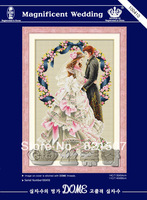 Colorful painting Classic Europea wedding 11CT precise printed aida fabric cross-stitching kits wall hanging