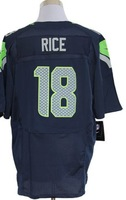 2013 new Men 18 Sidney Rice  blue white elite  American football Jersey,Cheap mens Sports Jersey,Embroidery logos,Mix order