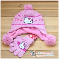 New arrival wholesale 3sets/lot Baby Girl cartoon character hats winter Knitted hat & glove sets 2pcs set free shipping