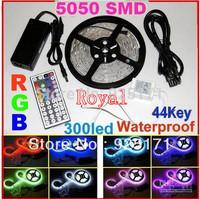 Best Price !!! Flexible Led Strip Light Stripe RGB SMD 5050 300Leds 5m Waterproof + 44Keys IR Remote Controller+12V6A DC 12V 72W