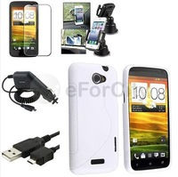 White S Line TPU Case+Film+USB+Car Charger+Suction Holder For HTC One X S720E