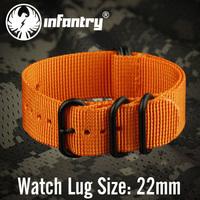 Infantry Sport Army Orange G10 Zulu 22mm Nylon Canvas Watch Straps Black Buckle NEW Watchbands Strong