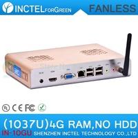 cheap fanless pc full alluminum case with Intel Celeron dual-core C1037U 1.8GHz 4G RAM HD Graphics L3 2MB NM70 Express Chipset