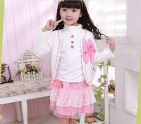 Autumn girl's 3pcs/set clothes with beautiful bowknot clothes set