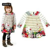 hot sale!Free Shipping,1pcs/lot, children wear,children catim*** brand print cotton design girl's dress,2-8Y,beige mulit color