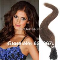 "18""20"" 22"" #8 Ash Brown Glue I Stick Tip Straight  AAAAA Peruvian Straight Virgin Hair Extension Free Shipping"
