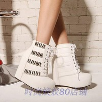 Fashion wedges short boots ultra high heels platform women's platform boots 2013 autumn black and white Martin boots Single