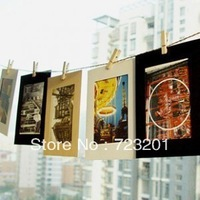 Free shipping DIY hanging wall photo paper combined with hemp rope clip wholesale