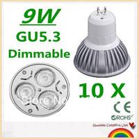 10X High Power GU5.3 3X3W 9W LED spotLight bulb lamp 110-240V (110V 220V) free shipping