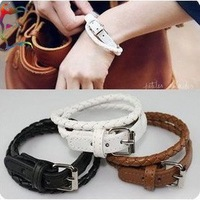 Wholesale leather bracelet 36pcs/Lot belt waistband Black White Brown 3 color bracelet braided pu leather bracelet wholesale