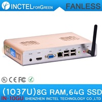 Fanless Embedded Box PC HDMI with Intel Celeron C1037U 1.8GHz RS232 WiFi optional 8G RAM 64G SSD Windows full alluminum chassis