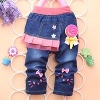 Free shipping kids girls hello kitty jeans pants,cute 100% cotton denim girl jeans, flower trousers 4pcs/lot