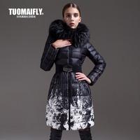 Free Ship 2013 Winter Fashion Print Down Coat female Medium-long Slim Genuine Fur Collar Large plus size Jacket Women