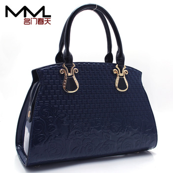 Urged female handbag japanned leather shiny women's handbag fashion trend of the embossed women's bag