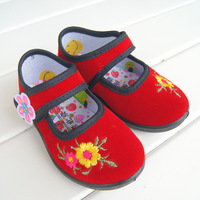 Cotton-made beijing shoes female child traditional embroidered baby shoes dance shoes cotton-made shoes children shoes red