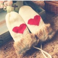 Free shipping 2013 the winter warm woolen gloves sweetheart
