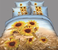 queen 5PCS WITH comforter 100%cotton painting flower grey active printed bed linen duvet cover bedding set